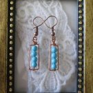 Handmade Blue Turquoise Copper Wire Wrapped Earrings, Free U.S. Shipping!