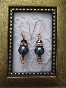 Black Pearl & Crystal Copper Earrings, Rhine Stone Accent, Handmade Ear Wires