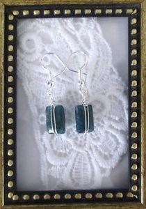 Handmade Wire Wrap Dark Blue Grey Rectangle Gemstone Sterling Silver Earrings