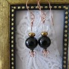 Jet Black Onyx Gemstone & Czech Melon Glass Bead Copper Earrings, Free U.S. Ship