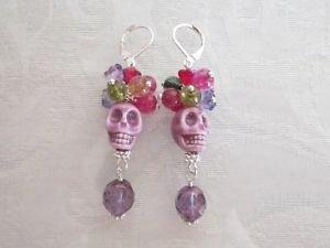 Halloween /Day of the Dead Red Purple Porcelain Sugar Skull Silver Tone Earrings