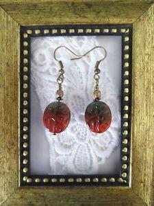 Reddish Brown / Grey Stamped Oval Czech Glass Bronze Tone Earrings, Free US Ship