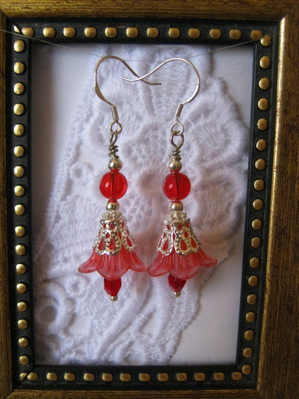 Handmade Pastel Red Flower and Czech Glass Earrings, Free U.S. Shipping!