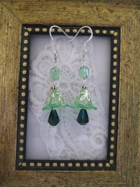 Handmade Light Green Bell Flower Earrings, FREE SHIP!