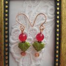 Handmade Green Maple Leaf & Ruby Berry Earrings, Free U.S. Shipping!
