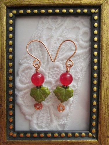 Handmade Green Maple Leaf & Ruby Berry Earrings, Free U.S. Shipping!