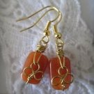 Orange Brown Rectangle Gemstone Gold Tone Wire Wrapped Earrings, Free Ship!