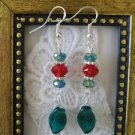 Handmade Green and Red Faceted Crystal and Glass Leaf Christmas Holiday Earrings