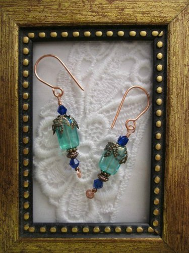 Blue Lagoon  Rectangle Glass Earrings, Free Shipping!