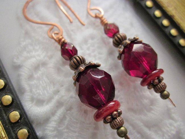 Handmade Ruby Red Czech Glass Copper Tone Earrings, Free Shipping!