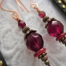 Handmade Ruby Red Czech Glass Copper Tone Earrings, Free Shipping!