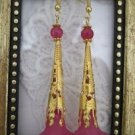 Handmade Long Filigree Stem Fuchsia Pink Flower Gold Tone Earrings, Free Ship!
