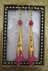 Handmade Long Filigree Stem Fuchsia Pink Flower Gold Tone Earrings, Free Ship!