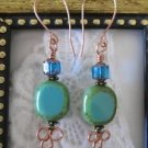 Handmade Turquoise Blue Czech Picasso Glass Copper Earrings, Free U.S. Shipping