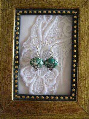 Handmade Green Simulated Turquoise UFO Earrings, Free U.S. Shipping!