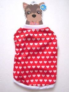 NWT Red w/ White Heart Print Dog Shirt, M, for Shih Tzu, Maltese, Pomeranian etc
