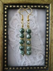Green & White Jasper Gemstone Bead Gold Tone Earrings, Free U.S. Shipping!