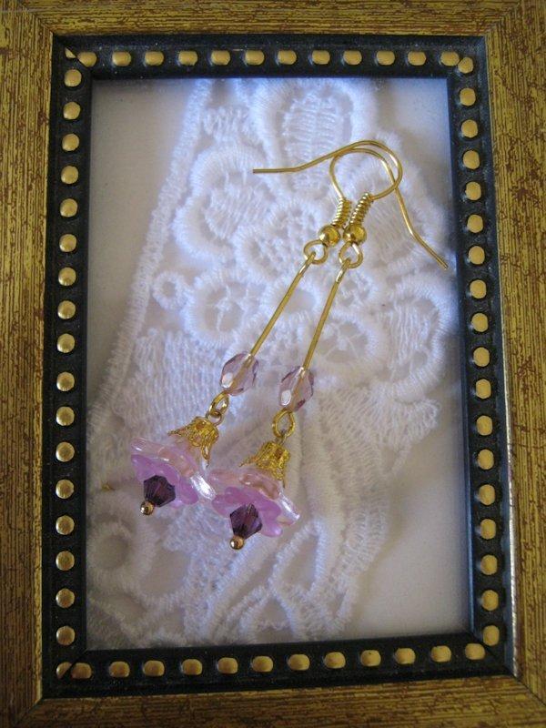 Handmade Light Purple Long Stem Flower Earrings, Free U.S. Shipping!