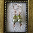 New Handmade Light Green Pearl & Crystal Copper Earrings, Handmade Ear Wires