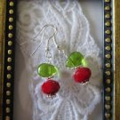 Dark Red Faceted Crystal and Glass Leaf Silver Tone Earrings, Free U.S. Ship!