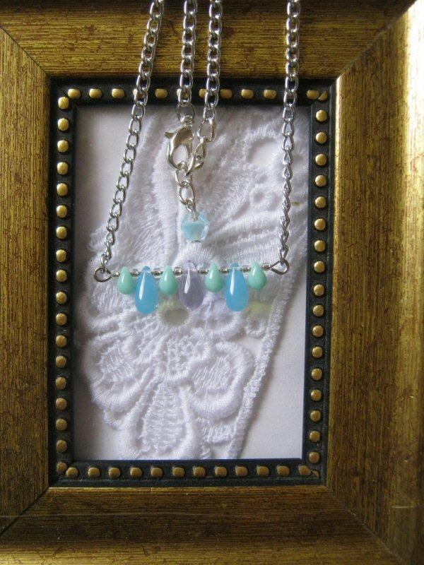 Handmade Opaque Blue RainDrops & Czech Flower Pendant Necklace, Free Shippin