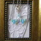 Handmade Opaque Blue RainDrops & Czech Flower Pendant Necklace, Free Shippin
