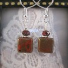 Square Brick Red Bead Silver Tone Earrings, Free Ship!