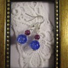 Purple Stone and Crackled Glass Silver Tone Earrings