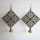 Handmade Antique Bronze Tone Lace Filigree Sheet Metal Earrings, Squares, Rounds