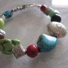 Handmade Gemstone Bracelet Turquoise / Ruby / Coral / Azurite / Jade / Amethyst