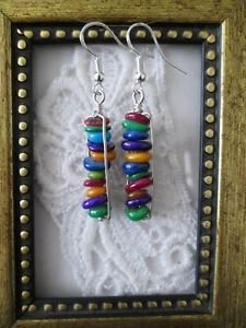 Handmade Multi-Colored Shell Stack Silver Tone Earrings, Free U.S. Shipping!!
