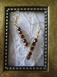 Garnet Red Czech Fire Polish Bead Gold Tone Earrings, Free U.S. Shipping!