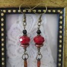 Dark Red Crystal Bead Rustic Glass Bronze Tone Earrings, Free U.S. Shipping!