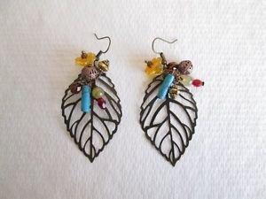 Handmade Filigree Copper Metal Beads and Beads Large Earrings, Gemstones, Glass