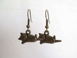 Handmade Antique Bronze Tone Charm Earrings, Dragonfly, Cross, Dove, Key, Cat