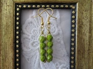 Opaque Green Czech Fire Polish Bead Gold Tone Earrings, Free U.S. Shipping!