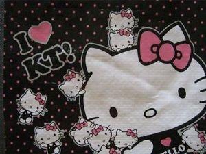 New! HELLO KITTY Mini Black Tote Reusable Bag / Gift Sac, Free US Shipping!