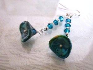 Handmade Czech Glass Flower Earrings, Pick  a Pair, Fast Free U.S. Shipping!