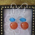 Orange Round Glass Bead & Blue Leaf Fruit/Berry Silver Tone Earrings, Free Ship!