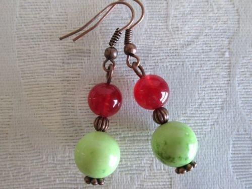 Handmade Howlite Turquoise Earring, Green Apple, Blue, Single, Ruby, Hoop