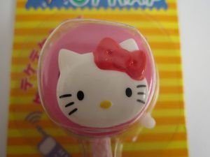 NEW! Sanrio HELLO KITTY Pink Rattle Head Phone / Bag Charm Toy, Free US Ship!