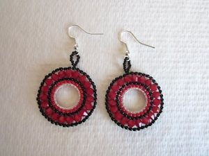Handmade Bead Stitched Wheel Ring Earrings, Black & Red, Blue, Pink, Purple