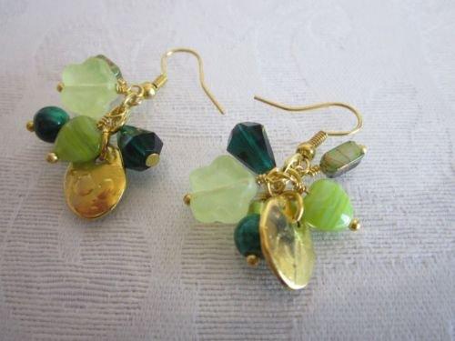 Handmade Gemstone/Glass/Pearl/Charm Mix Golden Gem Jam  Earrings, Free U.S. Ship
