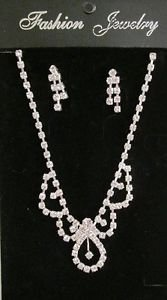 New Rhinestone Necklace and Earring Jewelry Set, Wedding, Bridal, Prom, Club
