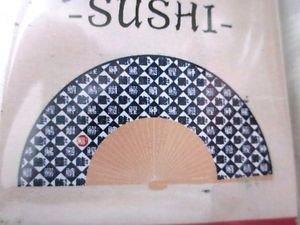 New! Foldable Bamboo & Paper Sensu Hand Fan, Kanji Sushi Character Design, Fun!