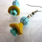 Handmade Czech Glass Flower and Charm Earrings, Blue Patinated, Filigree Charms