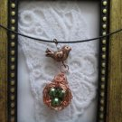 Handmade Mama Bird and Eggs in the Nest Pendant Necklace, Pearls, Gemstones