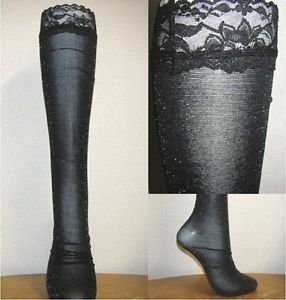 New! Sexy Glittered Black Lace Top Knee High Socks Hose, Size XS - M Free Ship!