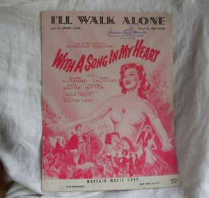 I'll Walk Alone, Susan Hayward With a Song in My Heart SUSAN HAYWARD Movie Sheet 1944