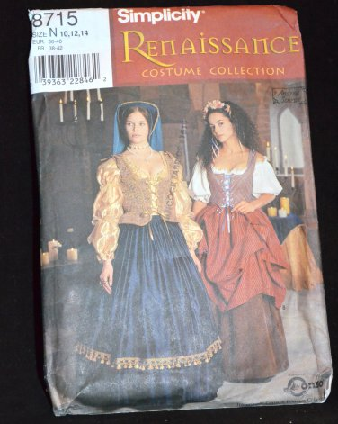 SIMPLICITY RENAISSANCE COSTUME PATTERN 8715